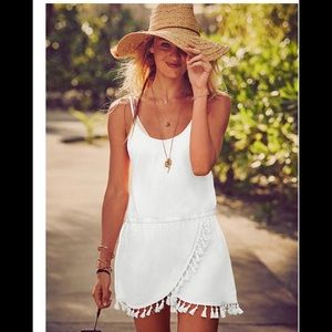 Victoria secret white tassel beach cover dress